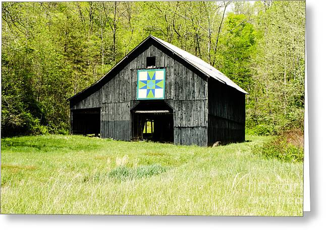 Kentucky Barn Quilt - Darting Minnows Greeting Card by Mary Carol Story