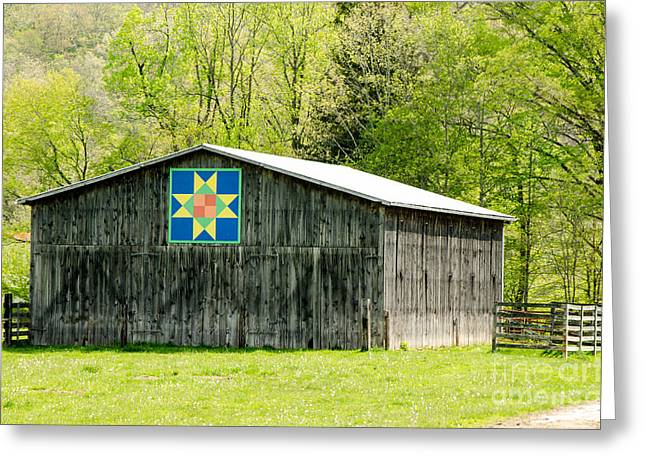 Kentucky Barn Quilt - Eight-pointed Star Greeting Card by Mary Carol Story