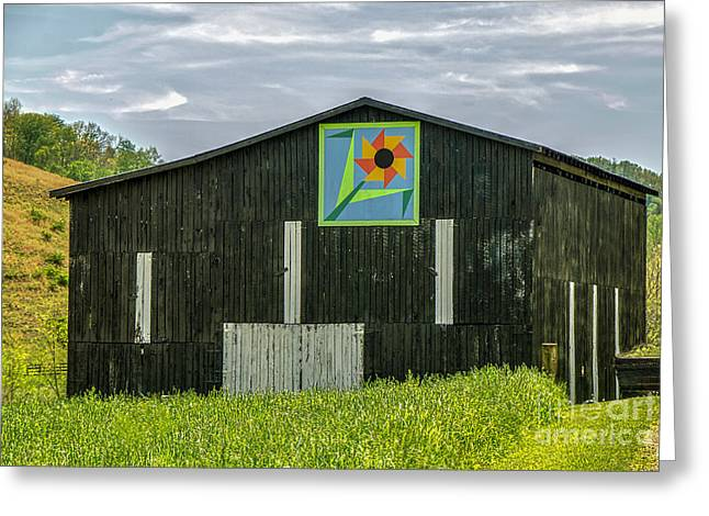 Kentucky Barn Quilt - Flower Of Friendship Greeting Card by Mary Carol Story
