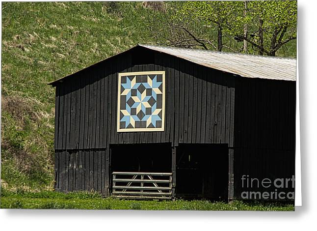 Kentucky Barn Quilt - Snow Crystals Greeting Card by Mary Carol Story