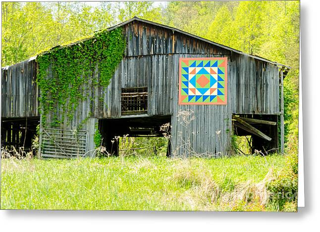 Kentucky Barn Quilt - Thunder And Lightening Greeting Card by Mary Carol Story