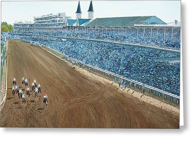 Kentucky Derby - Horse Race Greeting Card by Mike Rabe