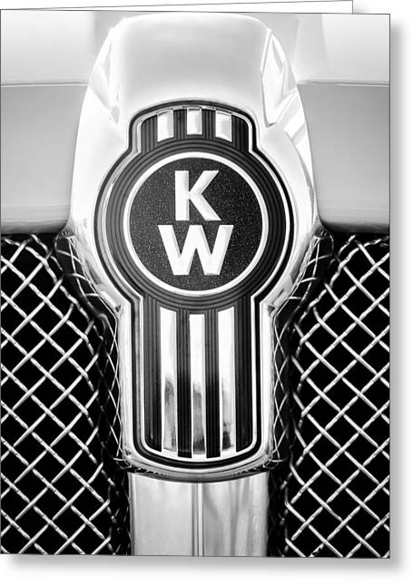Greeting Card featuring the photograph Kenworth Truck Emblem -1196bw by Jill Reger