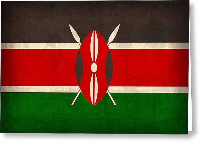 Kenya Flag Vintage Distressed Finish Greeting Card by Design Turnpike