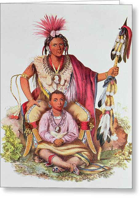 Keokuk Or Watchful Fox, Chief Of The Sauks And Foxes, And His Son, Musewont Or Long-haired Fox Greeting Card by Charles Bird King