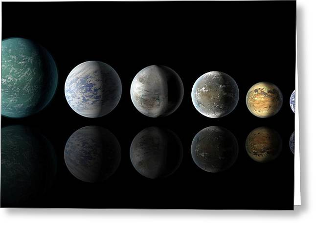 Kepler Exoplanets And Earth Greeting Card