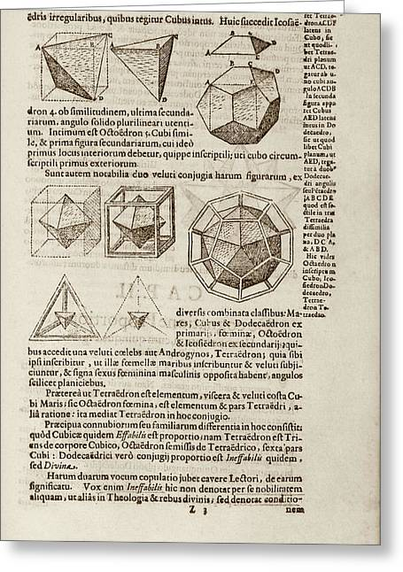 Kepler On Platonic Solids Greeting Card by Library Of Congress