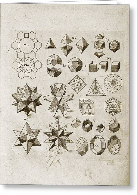 Kepler On Polyhedral Geometry Greeting Card by Library Of Congress