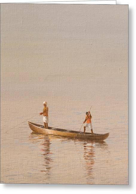 Kerala Fishermen Greeting Card by Lincoln Seligman