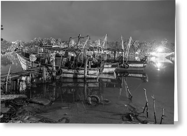 Kerala Night Dock Greeting Card by Sonny Marcyan