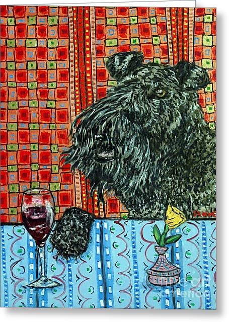 Kerry Blue Terrier At The Wine Bar Greeting Card by Jay  Schmetz