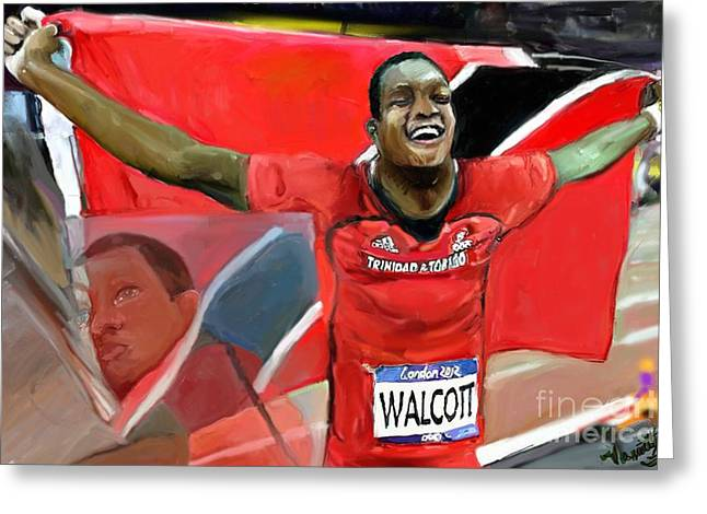 Greeting Card featuring the mixed media Keshorn Walcott by Vannetta Ferguson