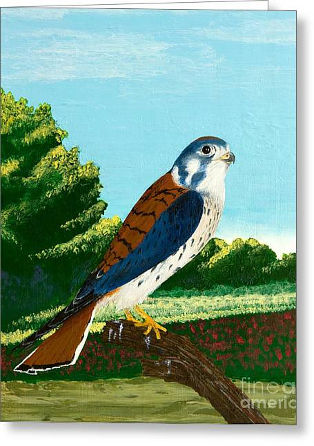 Kestrel And Flowers Greeting Card