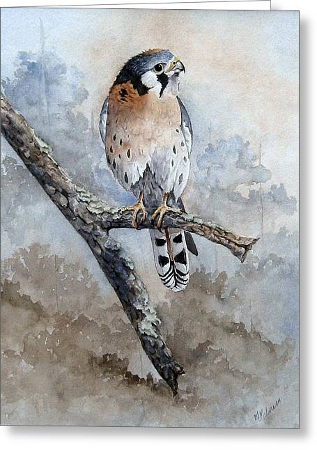 Greeting Card featuring the painting Kestrel Perch by Mary McCullah