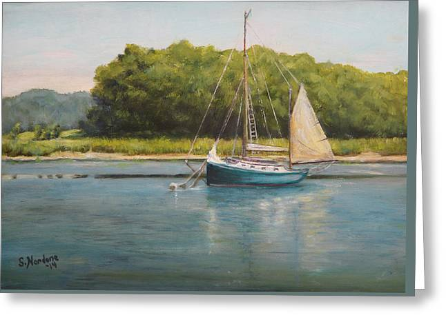 Ketch At Anchor Greeting Card