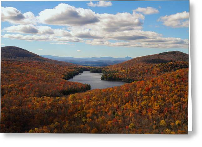 Kettle Pond At Owls Head In Autumn Greeting Card