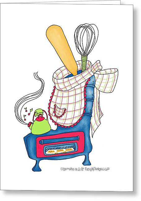 Kettle Warm Stove Sock V.1 Greeting Card by Lorraine Mullett
