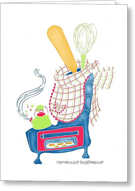 Kettle Warm Stove Sock V.2 Greeting Card by Lorraine Mullett