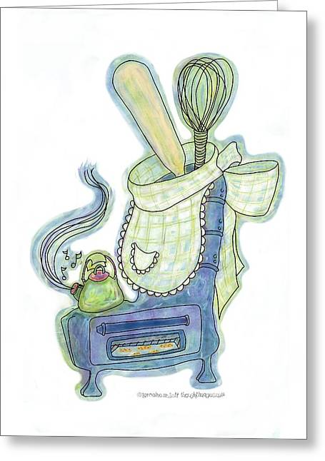 Kettle Warm Stove Sock V.3 Greeting Card by Lorraine Mullett