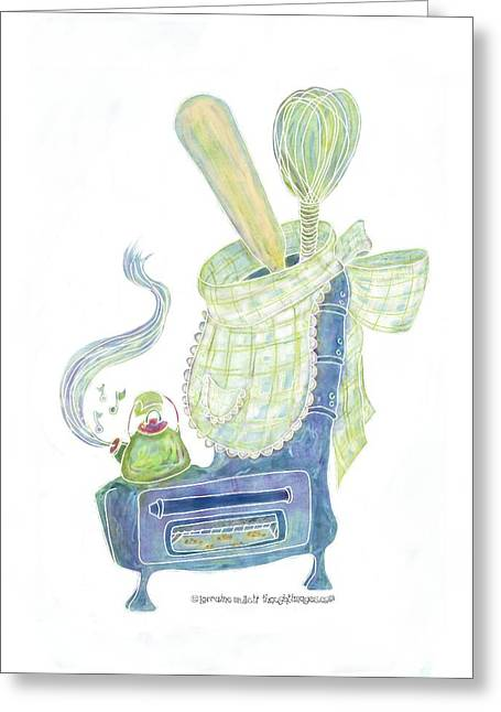 Kettle Warm Stove Sock V.4 Greeting Card by Lorraine Mullett