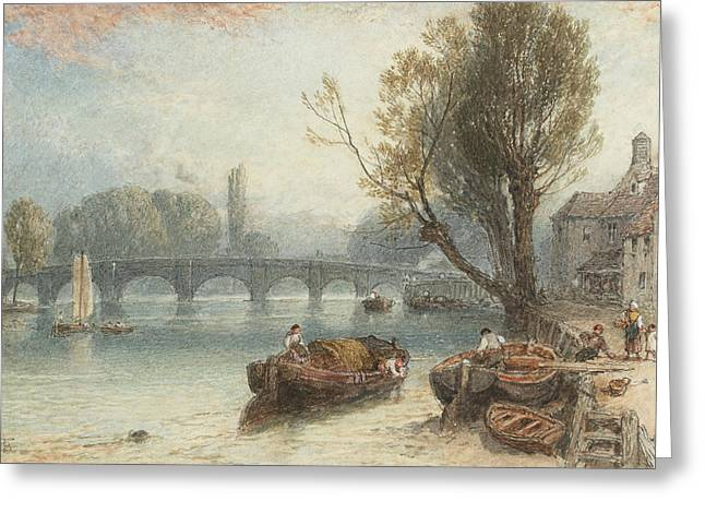 Kew Bridge From Standing On The Green Greeting Card by Myles Birket Foster