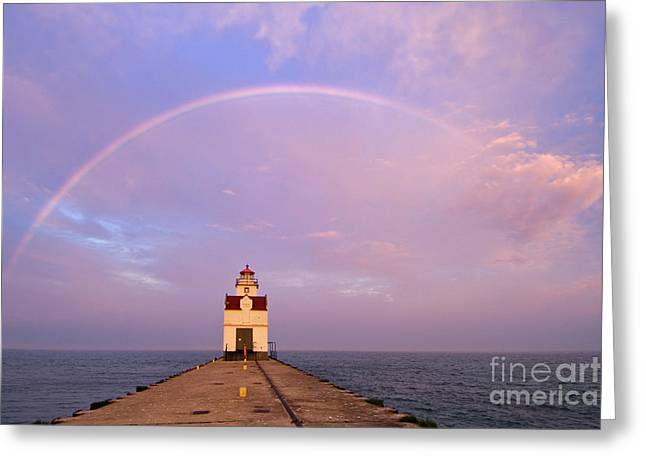 Kewaunee Pierhead Lighthouse And Rainbow - D002811 Greeting Card by Daniel Dempster