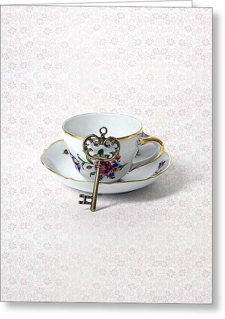 Key And Cup Greeting Card by Joana Kruse
