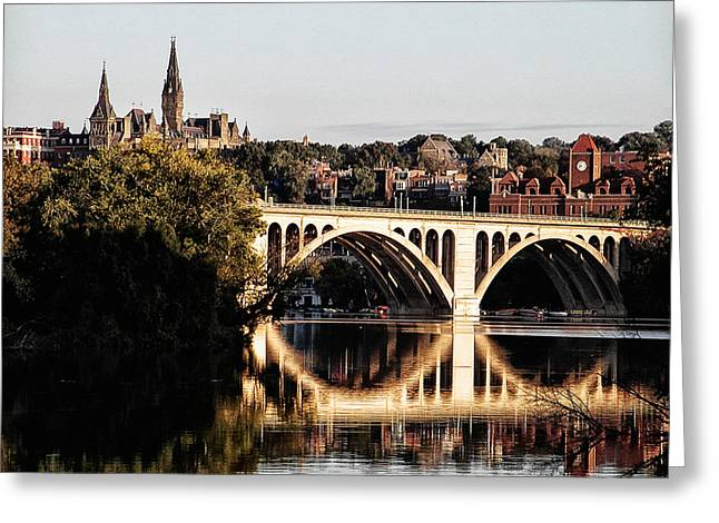 Key Bridge And Georgetown University Washington Dc Greeting Card by Bill Cannon