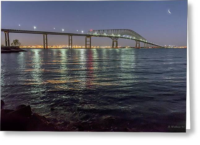 Key Bridge At Night Greeting Card