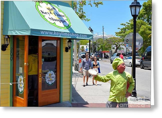 Key Lime Pie Man In Key West Greeting Card by Janette Boyd