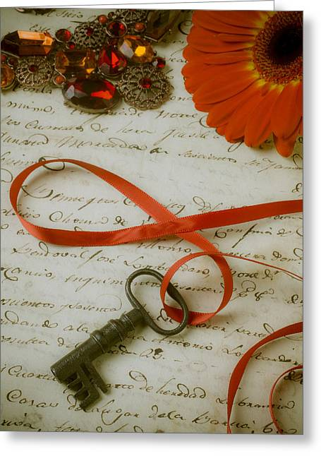 Key On Red Ribbon Greeting Card by Garry Gay