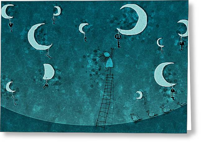 Key On The Moon Greeting Card