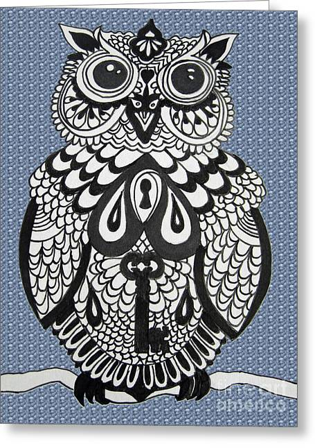 Key Owl Bubbles Greeting Card by Karen Larter