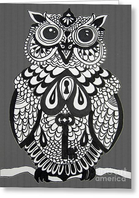 Key Owl Herringbone Greeting Card by Karen Larter