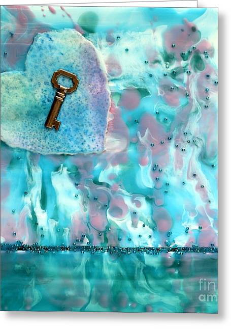 Key To My Heart Encaustic Greeting Card by Pattie Calfy