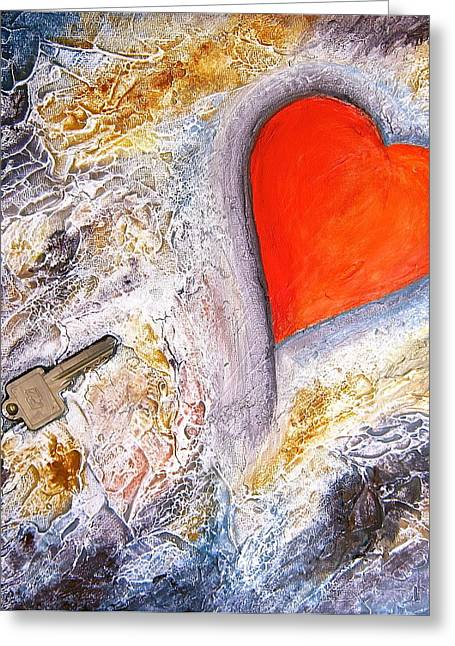 Key To My Heart Greeting Card by Heather Matthews