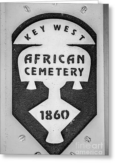 Key West African Cemetery 3 - Key West - Black And White Greeting Card by Ian Monk