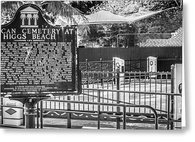 Key West African Cemetery 7 - Key West - Panoramic - Black And White Greeting Card by Ian Monk