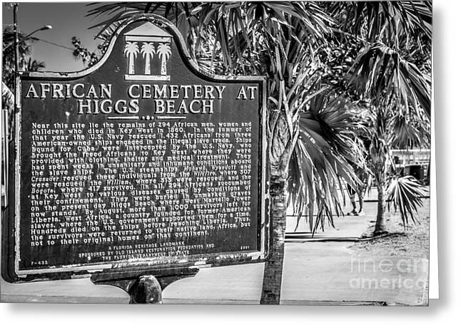 Key West African Cemetery Sign Landscape - Key West - Black And White Greeting Card by Ian Monk