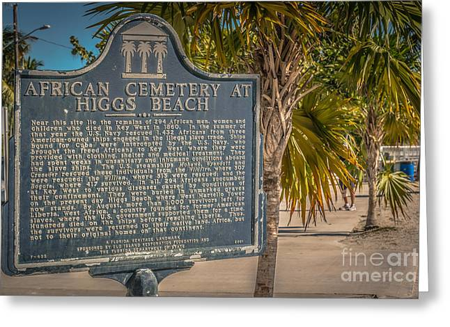 Key West African Cemetery Sign Landscape - Key West - Hdr Style Greeting Card by Ian Monk