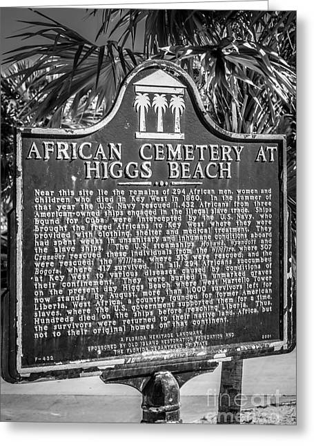 Key West African Cemetery Sign Portrait - Key West - Black And W Greeting Card
