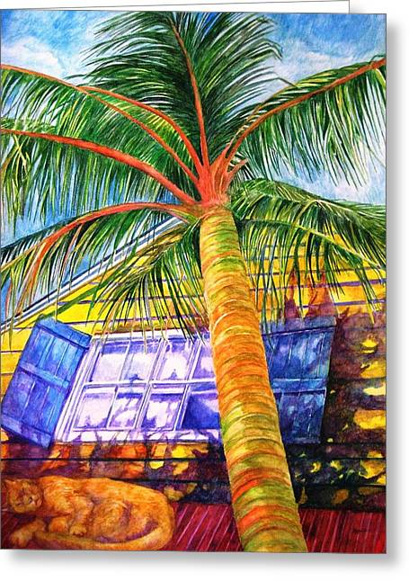 Key West Cat On A Hot Tin Roof Greeting Card