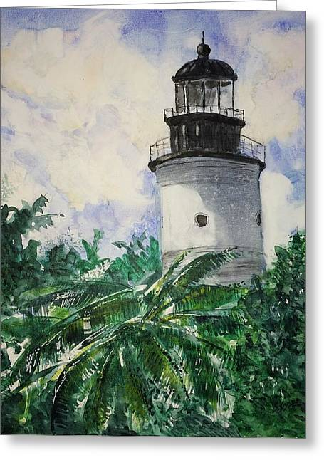 Key West Light Greeting Card by Stephanie Sodel