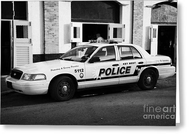 Key West Police Patrol Squad Car Key West Florida Usa Greeting Card