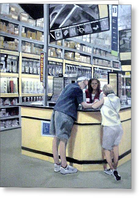 Keyed Up At Lowes Greeting Card by David Zimmerman