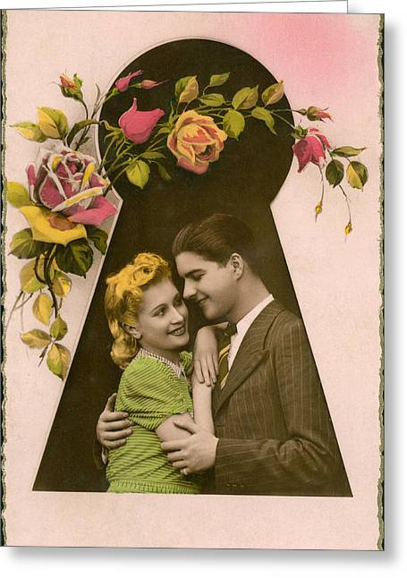 Keyhole Embrace Greeting Card by Underwood Archives