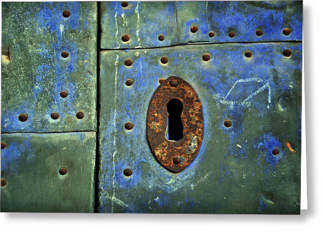 Keyhole On A Blue And Green Door Greeting Card by RicardMN Photography