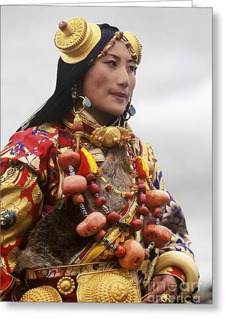 Khampa Princess - Kham Tibet Greeting Card by Craig Lovell