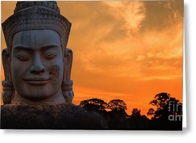 Khmer Sunrise Greeting Card by Pete Reynolds