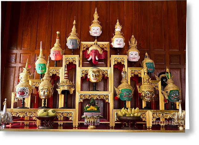 Khon Masks Is Situated On The Set Of Altar Table Greeting Card